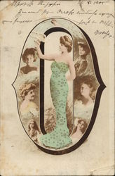 Letter O - Woman Wearing Green Dress in Oval Frame Holding Bird