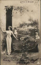 Letter L with Children on Seesaw, Woman in Woods