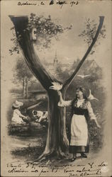 Woman with Birds Beneath a Tree Near Town