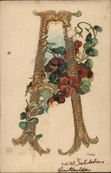 "Gold Letter ""A"" Adorned by Red Flowers on Vine"