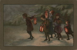 Group of Children Walking with Lanterns