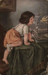 Girl Looking at Bird in Cage