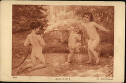 Nude Kids Playing in the Water Hose