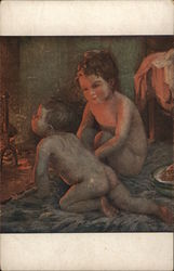 Nude Children Sitting Near the Fireplace