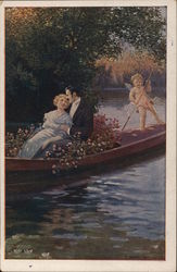 Cupid Rowing Romantic Couple on the Water
