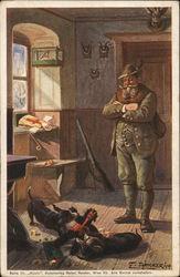 Hunter Watching Two Dachshunds Play