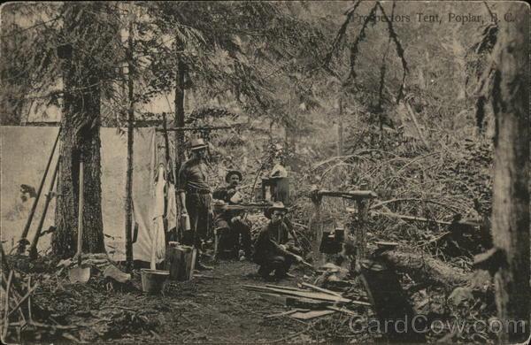 & Prospectors Tent Poplar NC British Columbia Canada Postcard