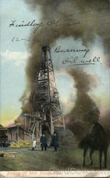 Burning Oil Well Findlay Ohio