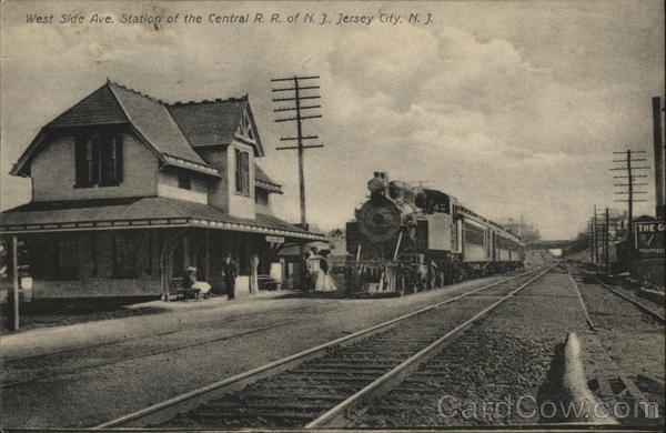 West Side Ave. Station of the Central R.R. of N.J. Jersey City New Jersey