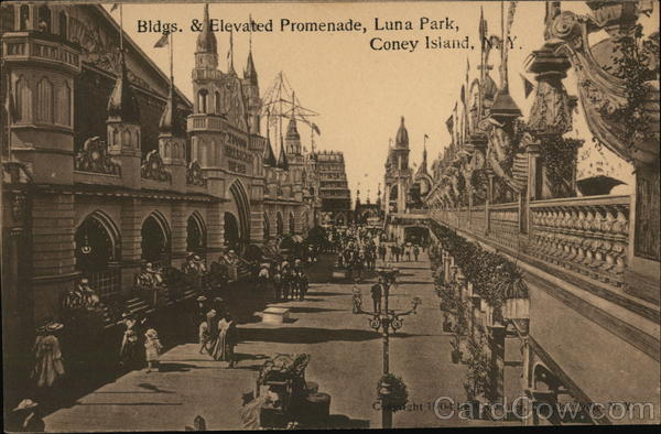 Buildings and Elevated Promenade, Luna Park Coney Island New York