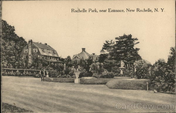 near the entrance of rochelle park new rochelle ny postcard. Black Bedroom Furniture Sets. Home Design Ideas