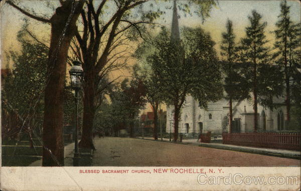 blessed sacrament church new rochelle ny postcard. Black Bedroom Furniture Sets. Home Design Ideas