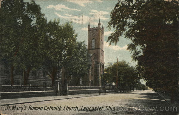 St Mary S Catholic Church Lancaster Oh Postcard