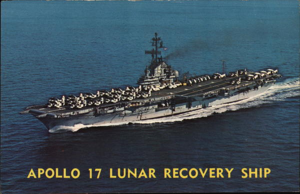 apollo 17 lunar recovery ship ships postcard