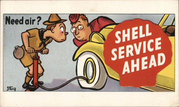 Need air? Shell Service Ahead Advertising