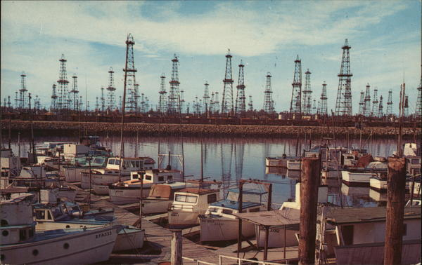 Oil Wells and Boat Landing - Terminal Island San Pedro California