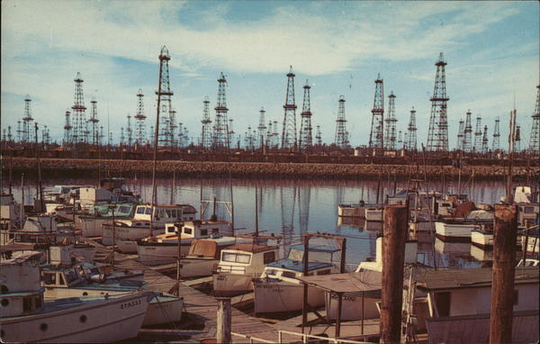 Oil Wells and Boat Landing, Terminal Island San Pedro California