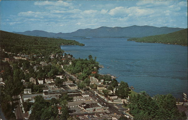 Aerial View of Town and Lake Lake George New York