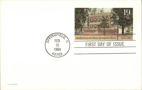 Abraham Lincoln Home Springfield Illinois First Day Issue Cards