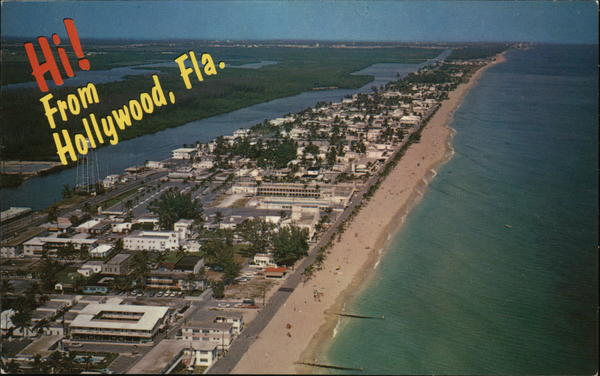 Aerial View of Beach and Hotels Hollywood Florida