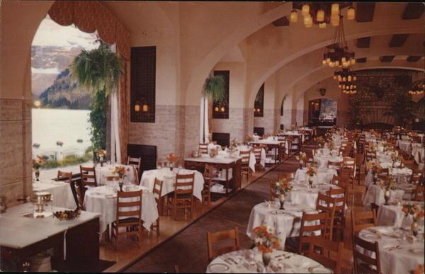 Chateau Lake Louise Dining Room Alberta Canada Postcard