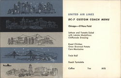 United Air Lines DC-7 Custom Coach Menu - Chicago - O'Hare Field