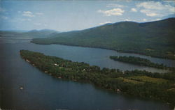 Aerial scene over beautiful Lake George