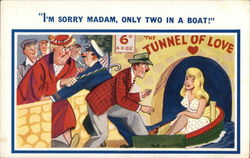 """I'm Sorry Madam, Only Two in a Boat."" Postcard"