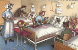 Illustration of cats in a hospital room dressed as humans.