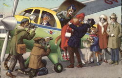 Cat people leaving an airplane