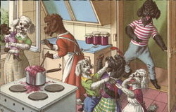 Dog Family Cooking in the Kitchen
