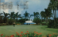 Fountain and Putting Greens at Miami's Doral Country Club