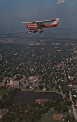 Flying Over Mineral Springs Park Pekin, IL Postcard