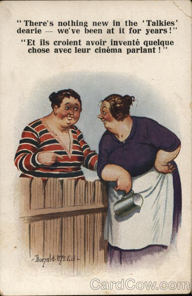 Two Women Talking Over Wooden Fence Donald McGill Comic, Funny