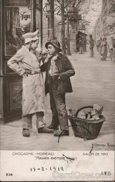 Bad Example Two Boys on Street with Cigarettes, Baskets