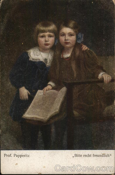 A boy and a girl with a book in her hand Prof. Papperitz