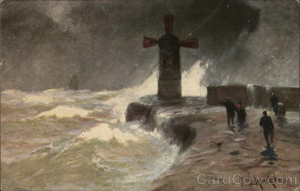 People Near Windmill Lighthouse at Water's Edge in Storm