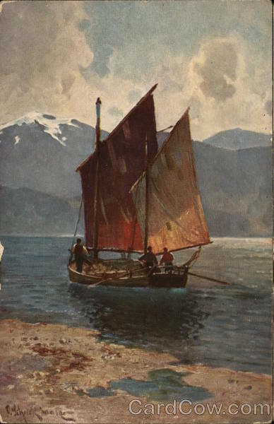 Boat with Angled Sails in Water Near Mountains Paul Schreckhaase