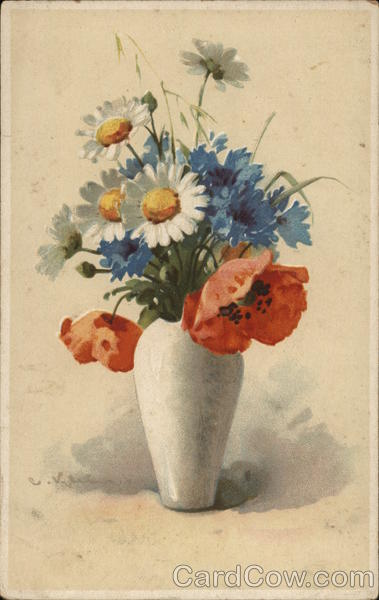 Bouquet of Daisies, Orange and Blue Flowers in White Vase