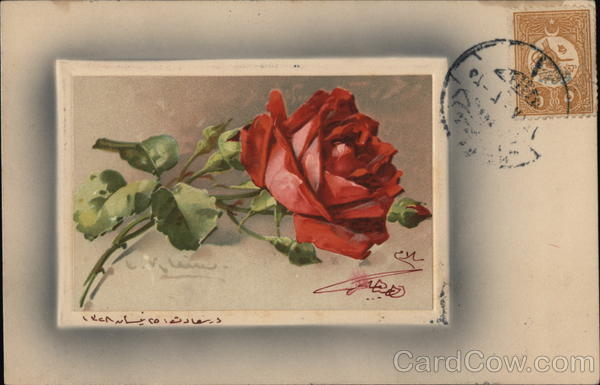 A postage mark with a red flower C. Klein Cancelled on Front (COF)