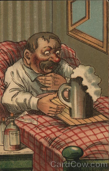 German Man in Bed with Foaming Beer Comic, Funny