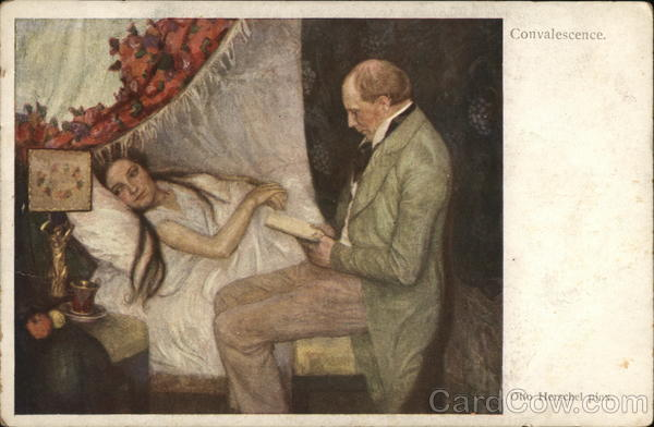 Convalescence Man Reading to Sick Woman Art