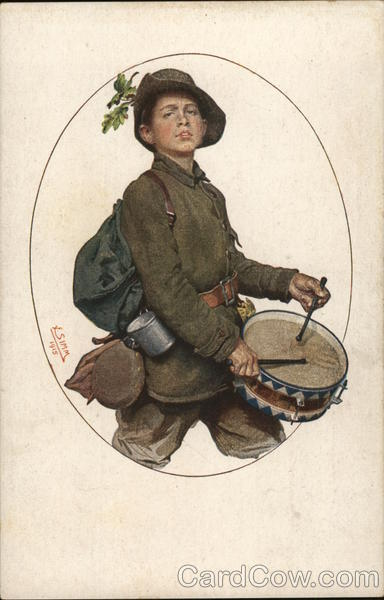 Boy Soldier with Gear Marching and Playing Drum Military