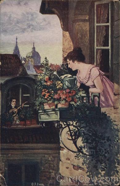 Man Serenading Woman in Window Near Flowers