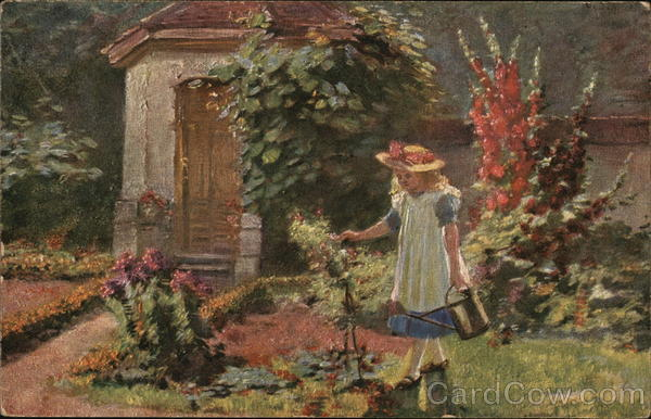 Blond Girl with Blue and White Dress Watering Flowers