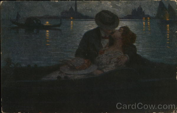 Man and Woman Kissing in Boat in Darkness Romance & Love