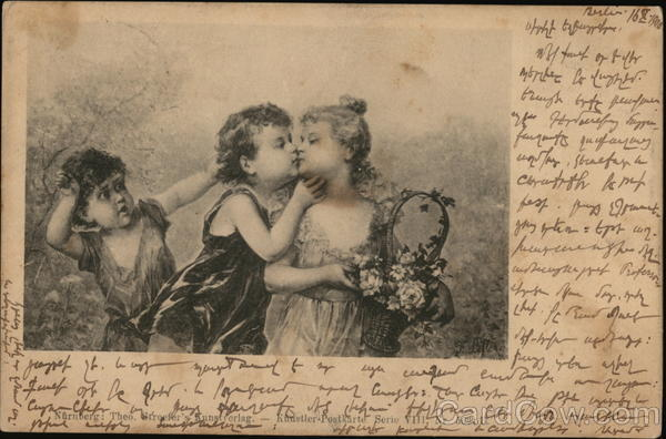 Little Boy Kissing Little Girl Holding Basket, Another Boy Watching