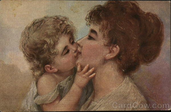 Blond Child Kissing Young Woman Women