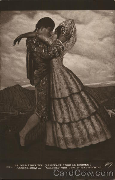Man and Woman in Ornate Clothing Kissing Romance & Love