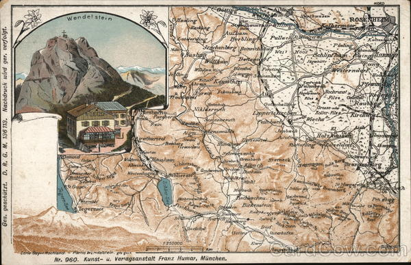 Map Wendelstein Mountain & Area Germany Maps